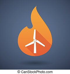 Flame icon with a wind generator