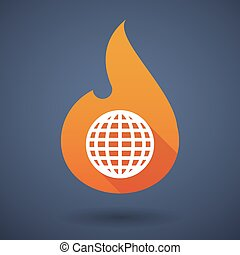 Flame icon with a world globe