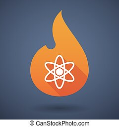 Flame icon with an atom