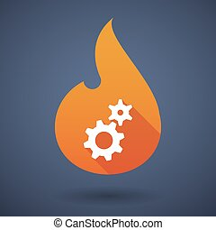 Flame icon with gears