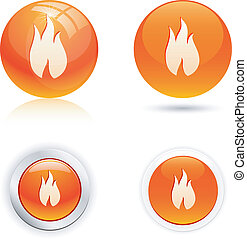Flame icons.