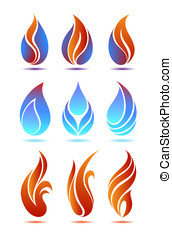 Flame - Symbols red and blue fire on white background vector