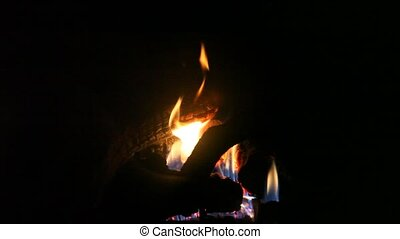 Flame in a fireplace, hd