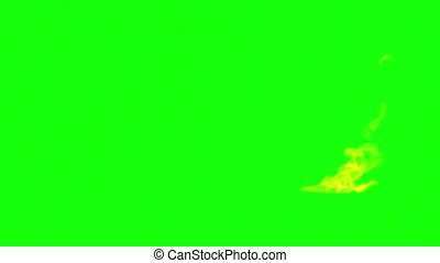 flame is burning on the green screen Slow motion video