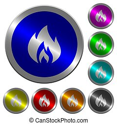 Flame luminous coin-like round color buttons