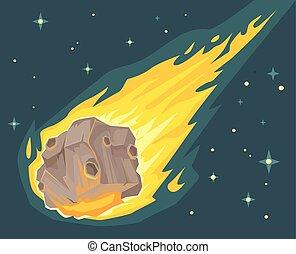 Flame meteorite. Vector flat cartoon illustration