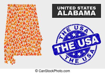 Flame Mosaic Alabama State Map and Distress The USA Seal