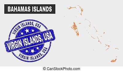 Flame Mosaic Bahamas Islands Map and Distress Virgin Islands, USA Stamp