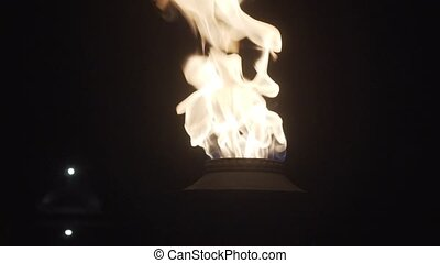 Flame of burning torch - Closeup of flame of burning torch...