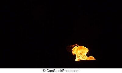Flame of fire on a black background Slowly rising flames