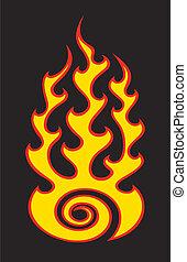 flame on black