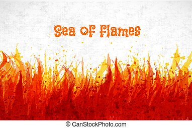 Flame on white background. Place for your text. Vector illustration of fire