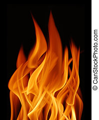Flame over black background