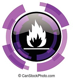 Flame pink violet modern design vector web and smartphone icon. Round button in eps 10 isolated on white background.