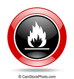 flame red and black web glossy round icon