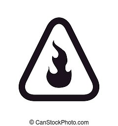 flame road sign triangle warning icon. Vector graphic