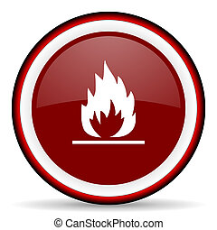 flame round glossy icon, modern design web element