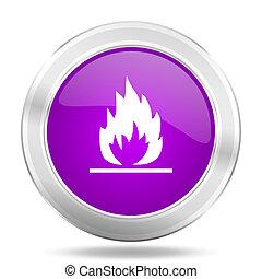 flame round glossy pink silver metallic icon, modern design web element