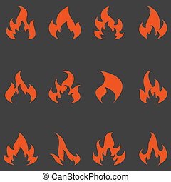 Flame set of vector icons.