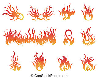 flame symbols - isolated flame symbols from white background...