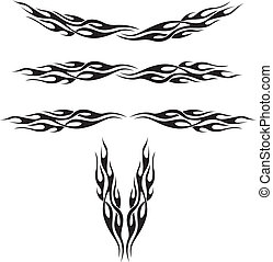A grouping of flame designs perfect for tattoos or vehicle decoration.
