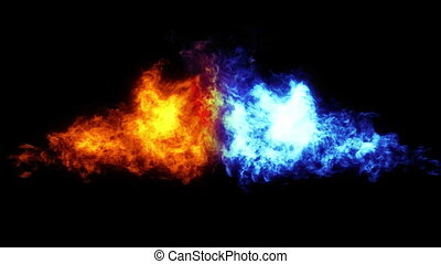 Flame thrower with alpha matte - Two flames, red and blue,...
