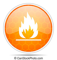 Flame web icon. Round orange glossy internet button for webdesign.