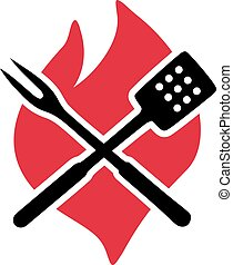 Flame with bbq cutlery