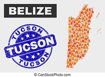 Flamed Mosaic Belize Map and Grunge Tucson Watermark