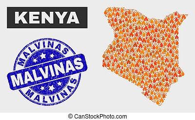 Flamed Mosaic Kenya Map and Grunge Malvinas Seal
