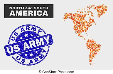 Flamed Mosaic South and North America Map and Distress Us Army Seal