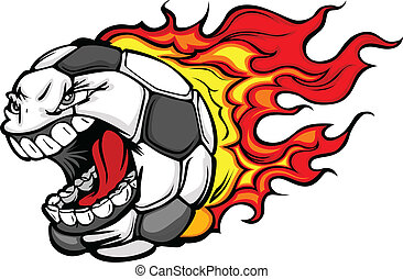 flamejante, bola futebol, gritando, rosto, vetorial,...