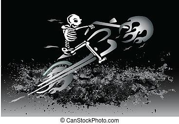 flamejante, esqueleto, motocicleta