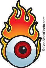 flamejante, globo ocular