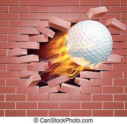 flamejante, golfe, parede, quebrar, bola, através, tijolo