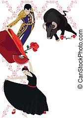 Flamenco and Bullfighting - Illustration with a matador and...