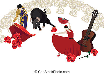 Illustration with a matador, flamenco dancer and spanish guitar