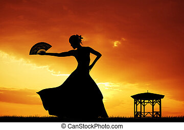 Flamenco at sunset - Flamenco silhouette at sunset