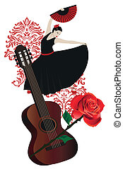 Flamenco - Illustration of a flamenco dancer with spanish...