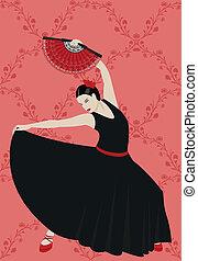Flamenco - Illustration of a flamenco dancer holding a...
