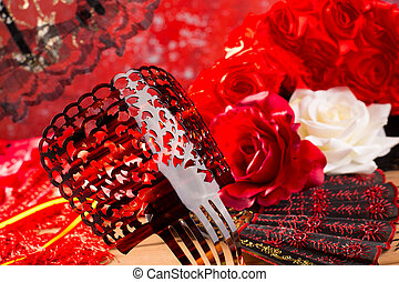 Flamenco comb fan and roses typical from Spain Espana