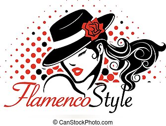 Flamenco Concept - Female dancer is wearing a hat with a...
