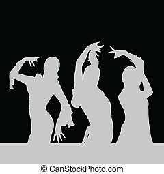 flamenco dance girl silhouette on black background art