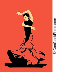 Flamenco dance on red background