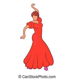 Flamenco dancer icon, cartoon style