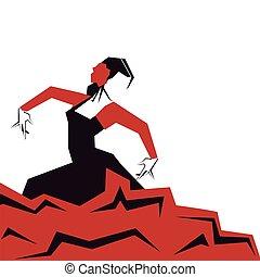 Flamenco Dancer in expressive impressive pose. Minimalistic laconic