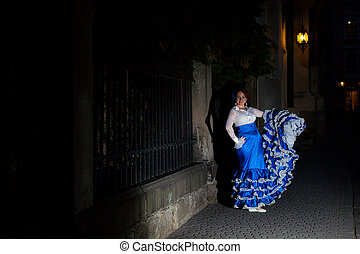 flamenco dancer in old city street - young beautiful...