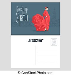 Flamenco dancer in red dress in visit Spain concept vector postcard template