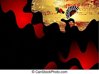 Flamenco dancer, sexy silhouette beautiful Spanish woman in black red long dress with fan and peineta in spectacular pose, Latin America artist performer, vector template gold leaf fashion background