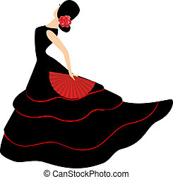 Flamenco dancer. Spanish girl with fan dances a flamenco,...